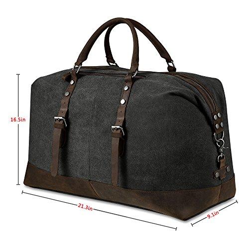 3a25947e3f Borsone da Viaggio per Sport di tela e pelle Borsa Weekend Bag Uomo ...