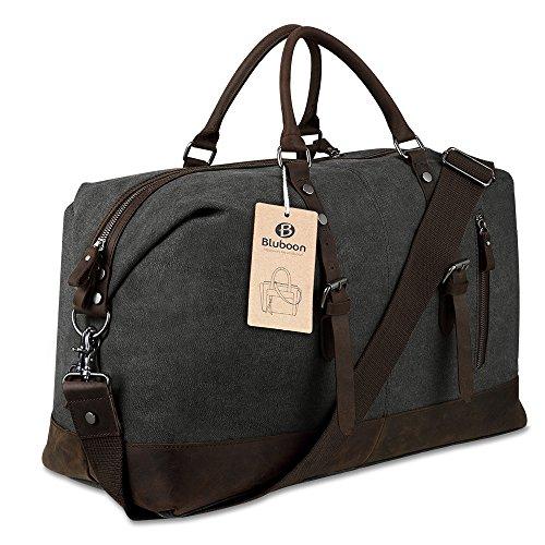 eccezionale gamma di stili codice promozionale vendite calde Borsone da Viaggio per Sport di tela e pelle Borsa Weekend Bag Uomo/Donna  Vintage (Nero) | Valigeria